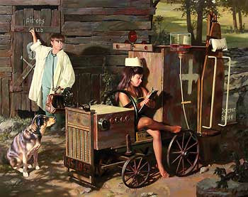 Bob Byerley House Calls Boy Girl Playing Doctor Nurse S/N Art Print