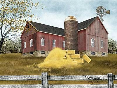 Billy Jacobs Farm Life Barn Haystack Art Print 16 x 12