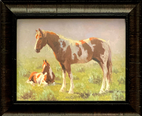 Jim Rey Horse and Colt Print-Tuckered Framed 18 x 13