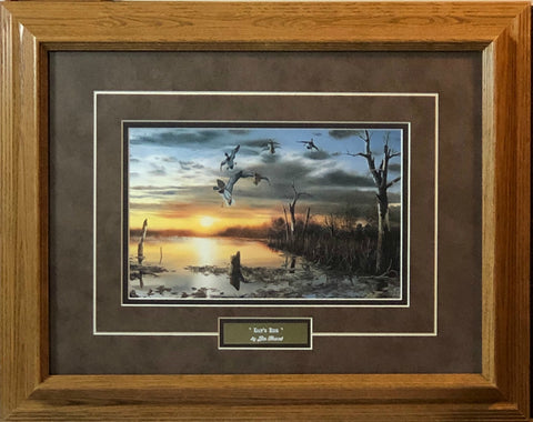 Jim Hansel Days End Mallard Pond Art Print-Framed 19 x 15