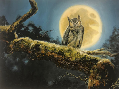 R. J. McDonald Night Watch Owl Full Moon S/N Art Print 21.5 x 16