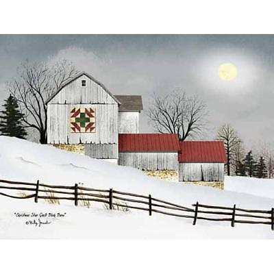 Billy Jacobs Christmas Star Quilt Block Barn Art Print 16 x 12