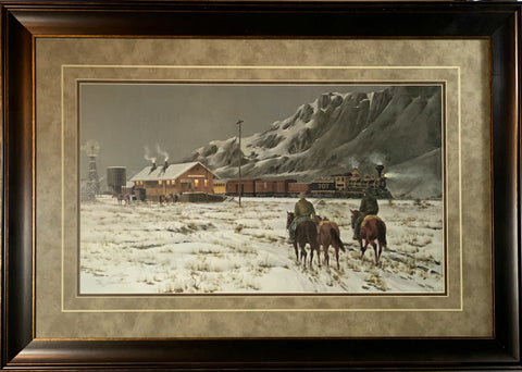 Jodie Boren Cowboy Train S/N Art Print-Framed 34.5 x 24.5