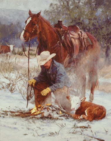 Bruce Greene Early Arrival Cowboy and Calf Art Print 11 x 14