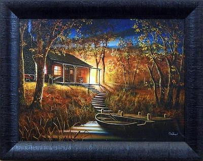 "Jim Hansel ""Dawns Early Light"" Cabin Studio Canvas Framed Print- 19"" x 15"""
