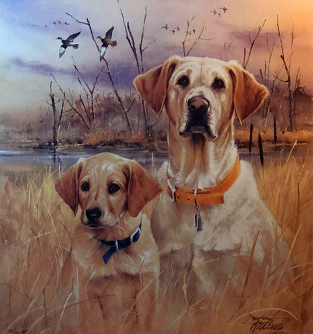 Jim Killen First Lesson Yellow Lab and Pup Hunting Dog A/P Art Print
