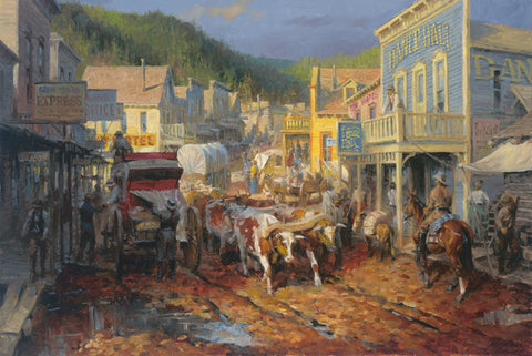 Andy Thomas Gold Town Art Print-Signed