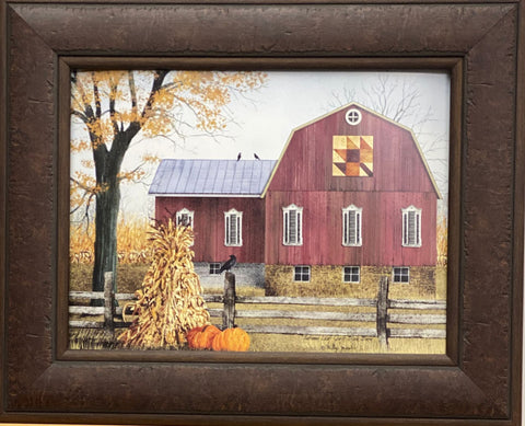 Billy Jacobs  Autumn Leaf Quilt Block Farm Country Art Print-Framed