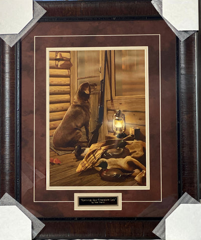 Scott Storm Opening Day Chocolate Lab Duck Hunting Art Print-Framed 20 x 24
