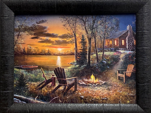 Jim Hansel Fireside Cabin Lake Art Print-Framed 19 x 15