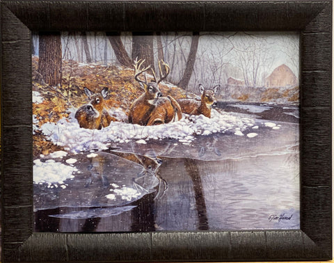Jim Hansel Creekside Deer Buck Art Print-Framed