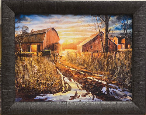 Jim Hansel Days Not Forgotten Farm Barn Art Print-Framed 19 x15