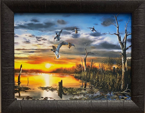 Jim Hansel Day's End Duck Waterfowl Art Print-Framed 19 x 15