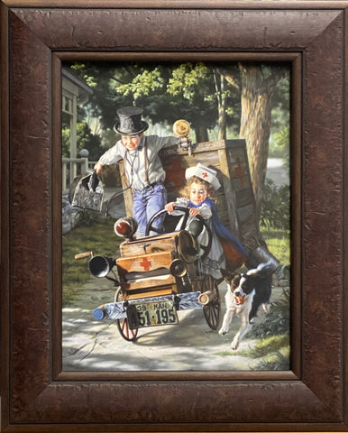 Bob Byerley Help on the Way Children Doctor Nurse Art Print-Framed