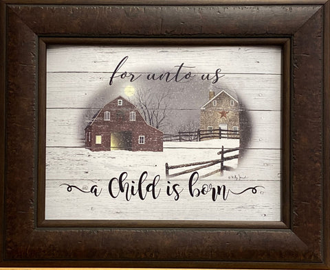 Billy Jacobs For Unto US a Child is Born Farm Barn Art Print-Framed