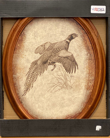 David Maass Pheasant Oval Framed Art Print 18 x 15