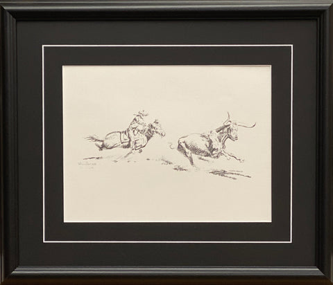 Will James Cowboy roping a Longhorn Black and White Art Print-Framed 20 x17