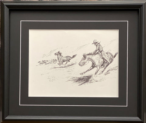 Will James Keeping the Herd Together Cowboy Wild Horse Art Print Framed