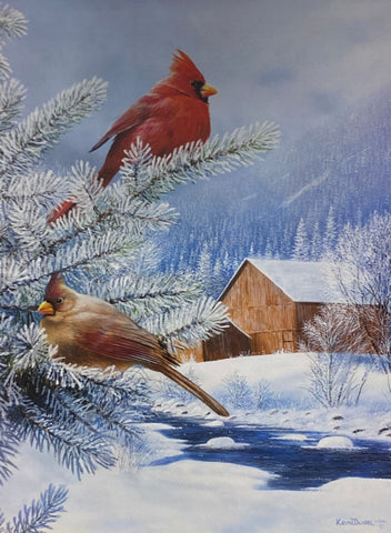 "Winters Song By Darrell Bush Cardinal Holiday Art Print  Image 10/"" x 7/"""