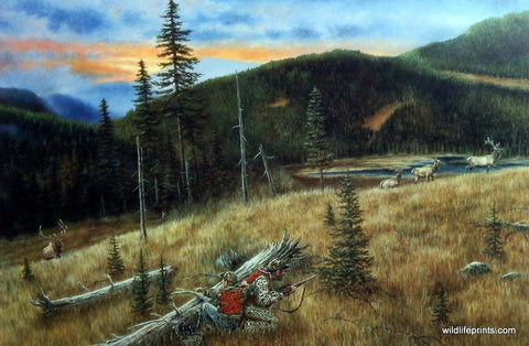 Father and son on elk hunting expedition Brian Kuether art print painting