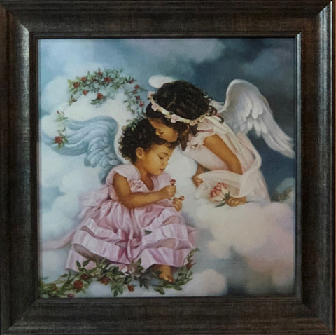 Sandra Kuck Sharing the Love Children Angel art print-Framed