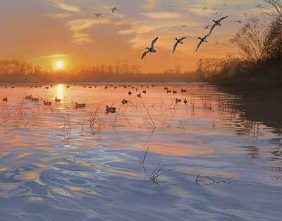 Scot Storm End of a Great Day Duck Hunting S/N Print