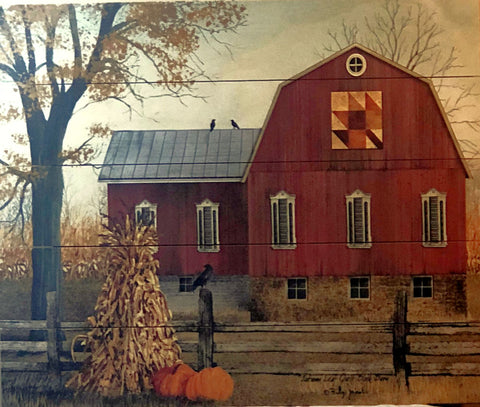 Billy Jacobs Autumn Leaf Quilt Block Barn Pallet Art-Made of Wood