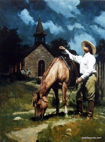 Bruce Greene Cowboy Inspirational Church Print