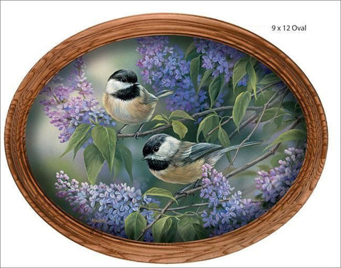 Rosemary Millette Chickadees And Lilacs Canvas Oval