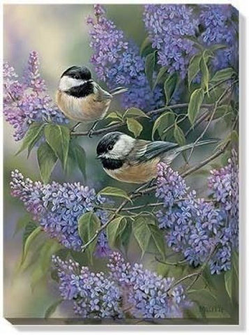Rosemary Millette Chickadees & Lilacs Canvas