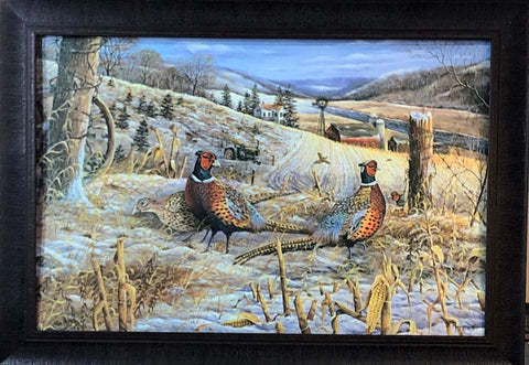 Ray Mertes Morning Glow Pheasant Farm Art Print Framed 33.5 x 23.5