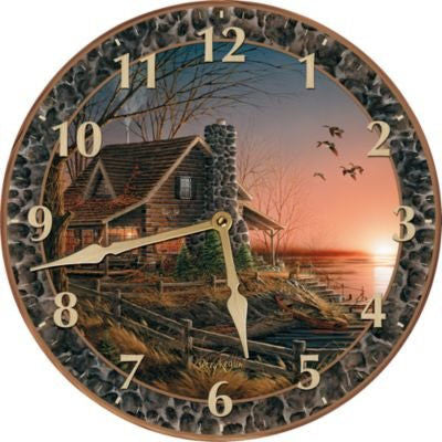 Rustic cabin clock Terry Redlin Comforts of Home