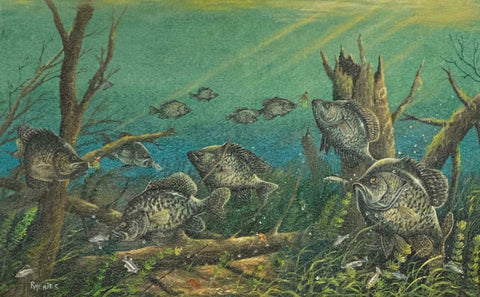 Ray Mertes Crappie Patrol Fishing Art Print 21.5 x 13.5