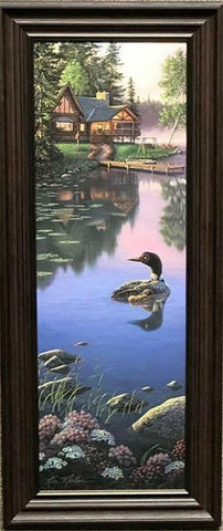 Kim Norlien Beyond Still Waters Loon Cabin Art Print-Framed 11.5 x 27.5