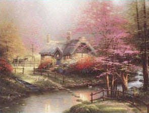 Thomas Kinkade print Stepping Stone Cottage
