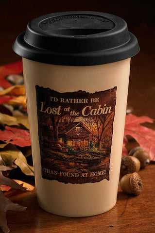 Redlin I'd Rather be Lost at the Cabin Travel Mug
