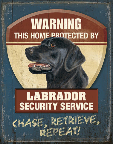 Mia Lane Warning Black Lab Security Tin Sign 12 x 16