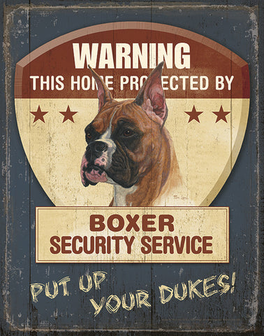 Mia Lane metal sign about boxer dogs