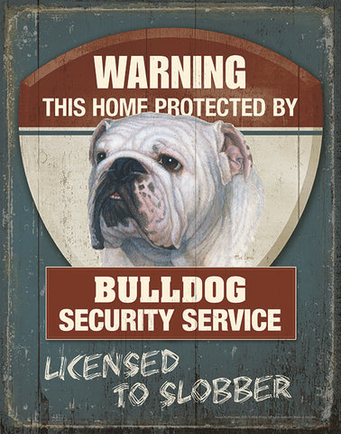 Warning Bulldog Security Service Tin Sign