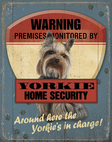 Yorkie Security Tin Sign