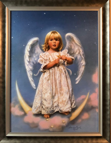 Sandra Kuck Twinkle Children Angels and Star Art Print-Framed