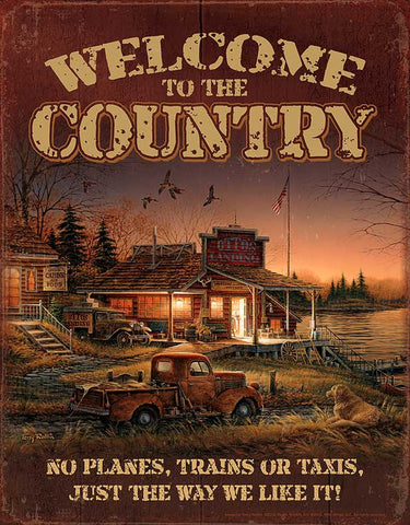 Redlin Welcome to the Country-Tin Sign