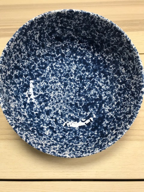 Ceramic Large Deep Bowl Blue Speckled 25cm - Tenuta Marmorelle