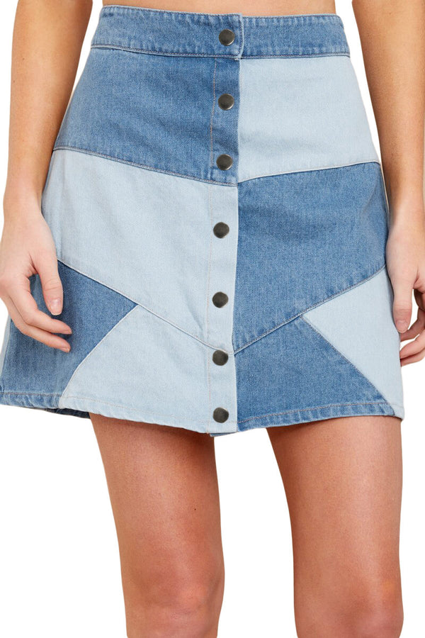Fusta mini din denim rework