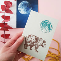 Bear and Moon Blank Notebook