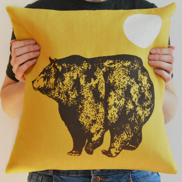 Mustard Linen Bear Cushion