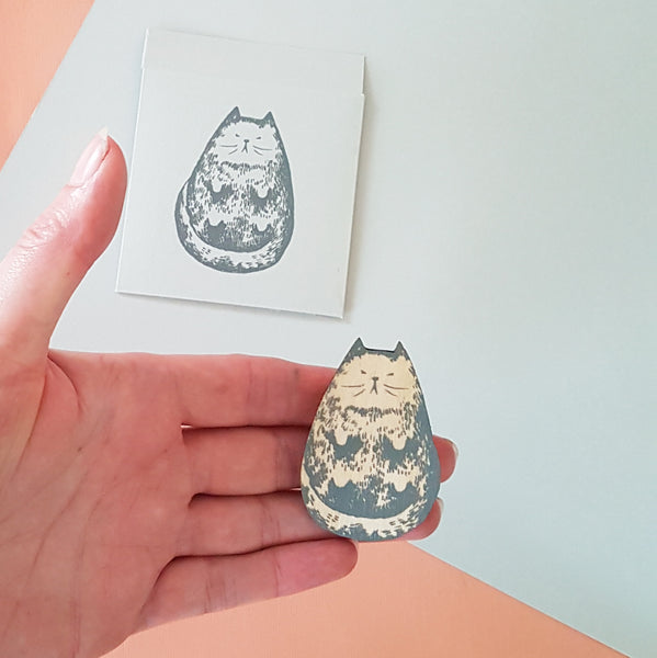 Billy cat hand printed brooch