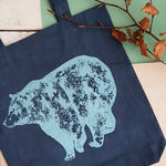 Handprinted Blue Bear Bag