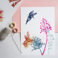 Smelling the Flowers Hummingbird Screenprint