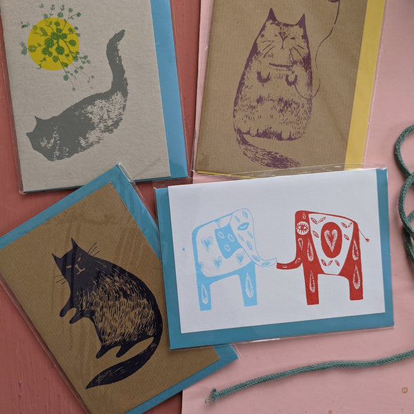Card Pack- cats and elephants
